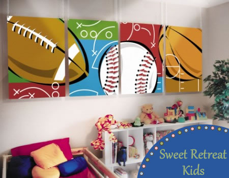 Boys room themes decorating ideas raftertales home for Kids sports room decor