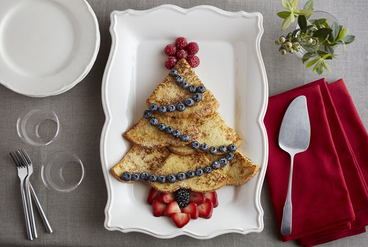 Christmas Tree Eggnog French Toast
