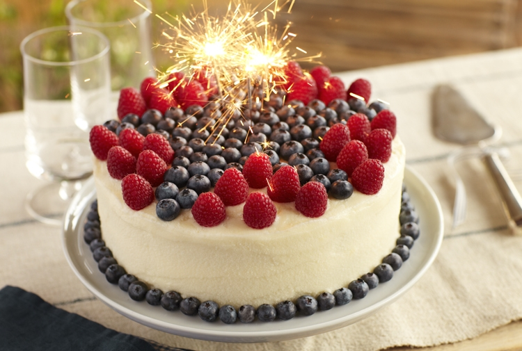Raspberry Lemon Cake with Blueberries