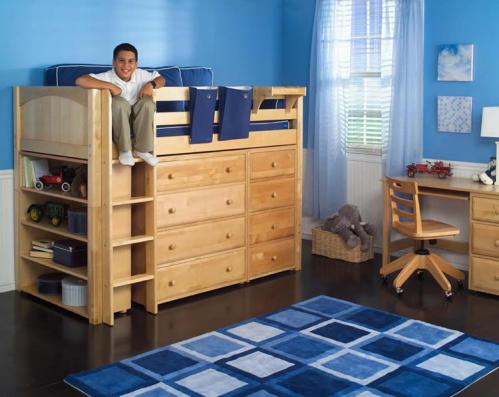 Mid loft storage bed in natural by Maxtrix Kids