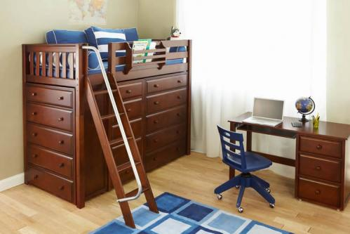 High Storage Bed in Chestnut by Maxtrix Kids