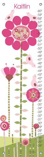 Afternoon Gossip, Pink & Green Growth Chart by Oopsy daisy