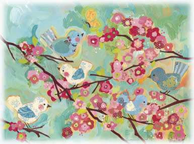 Cherry Blossoms Birdies Art by Oopsy Daisy