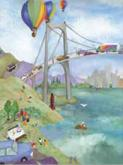 Kids' Bridge Over Water Mural (Watercolor Journey)