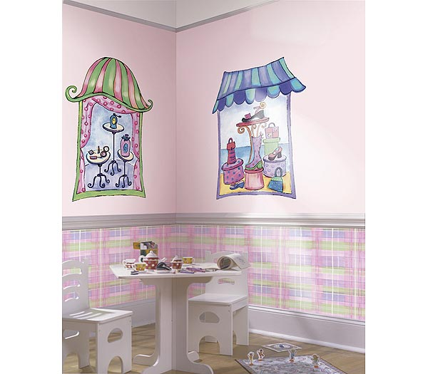 Shoe Department Window Accent Mural Pink/Purple Thumbnail 1
