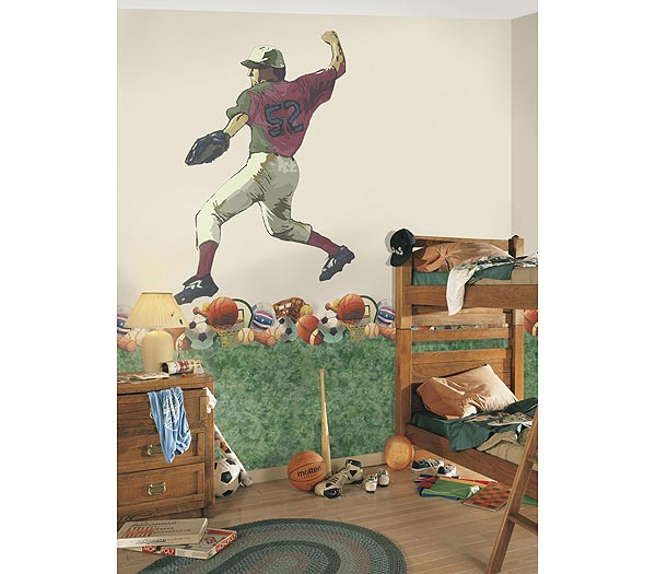 Baseball - Pitcher Accent Mural White Thumbnail 1