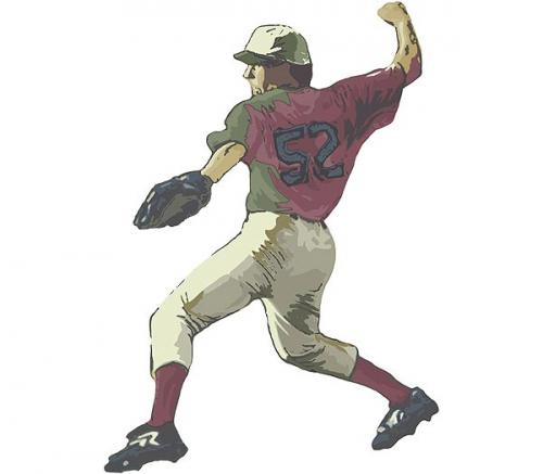 Baseball - Pitcher Accent Mural White Thumbnail