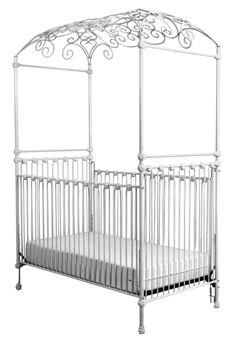 Iron Scroll Canopy Crib in White