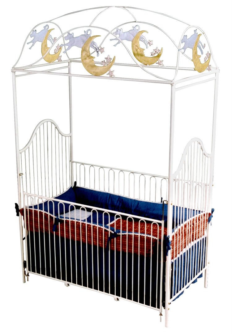 Cow jumped over the moon canopy crib for Canopy above crib