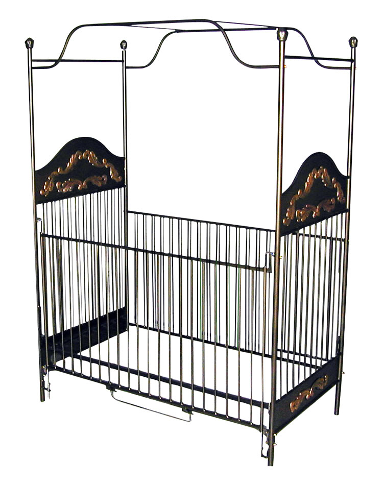 Black gold iron canopy crib for Canopy above crib