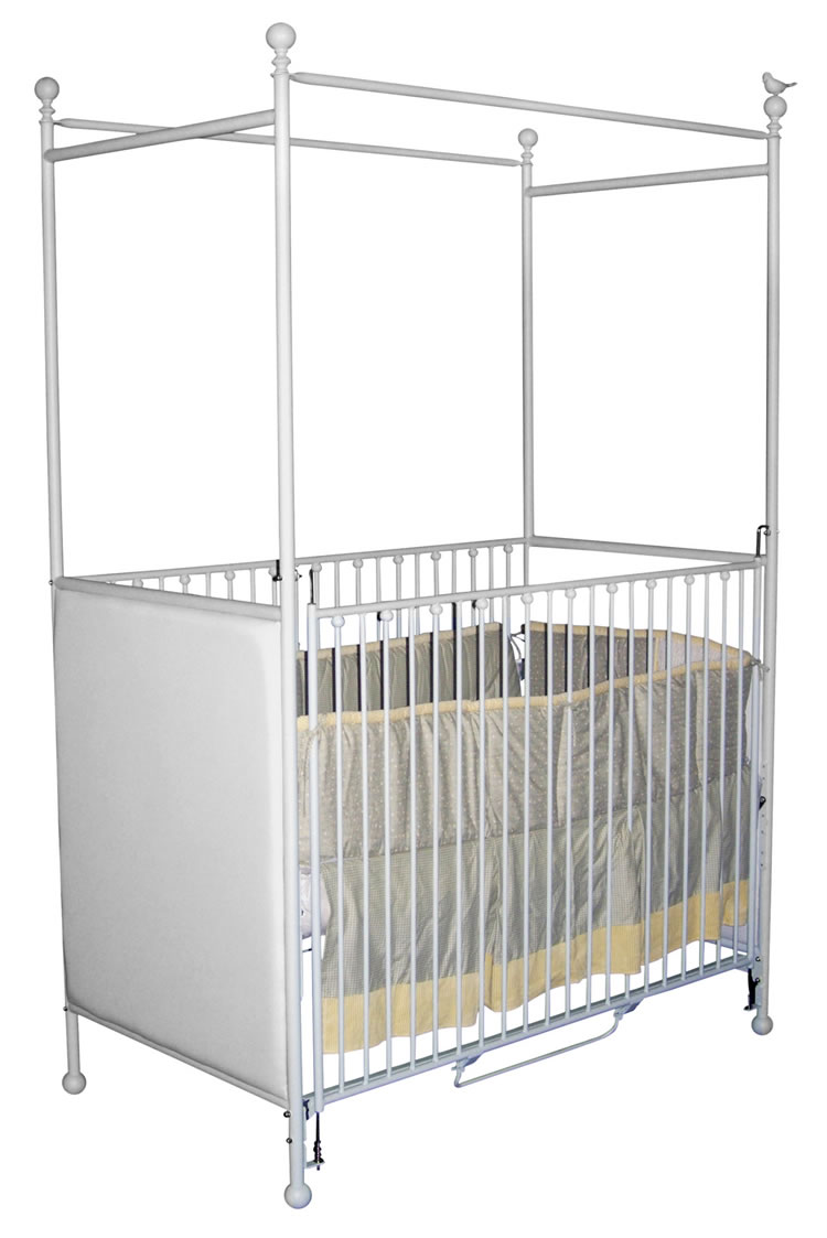 Panel canopy crib with bird for White canopy crib