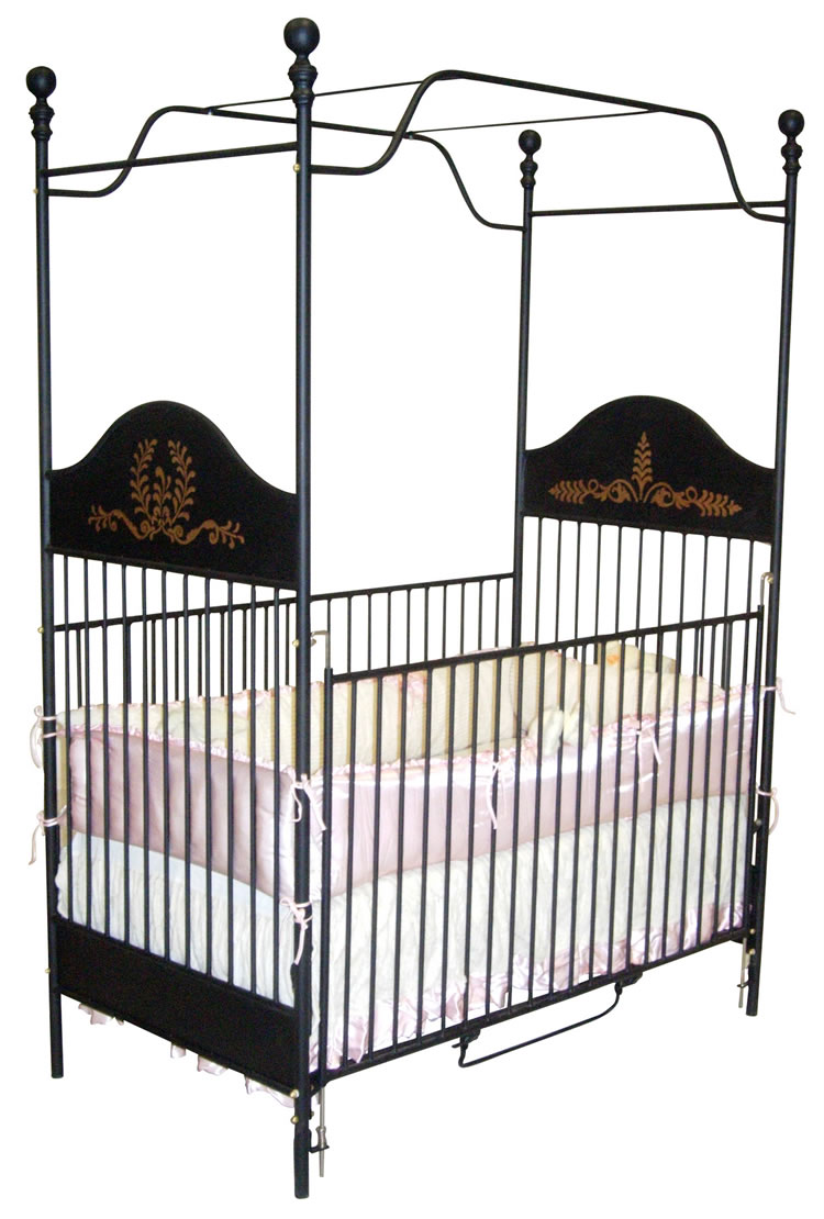 Canopy crib in black with gold accents for Canopy over crib