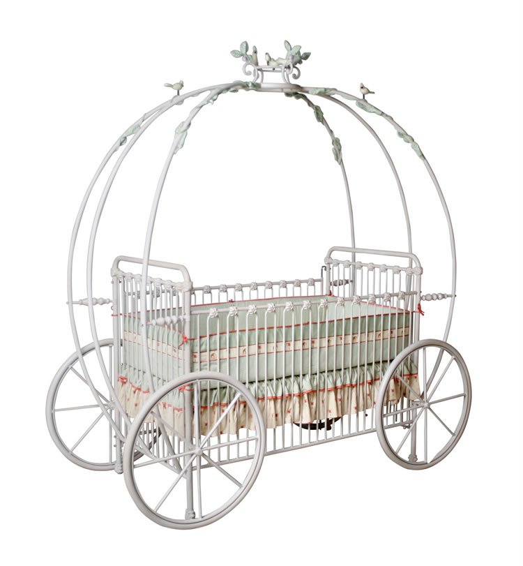 Pumpkin Carriage Crib W Vines Birds