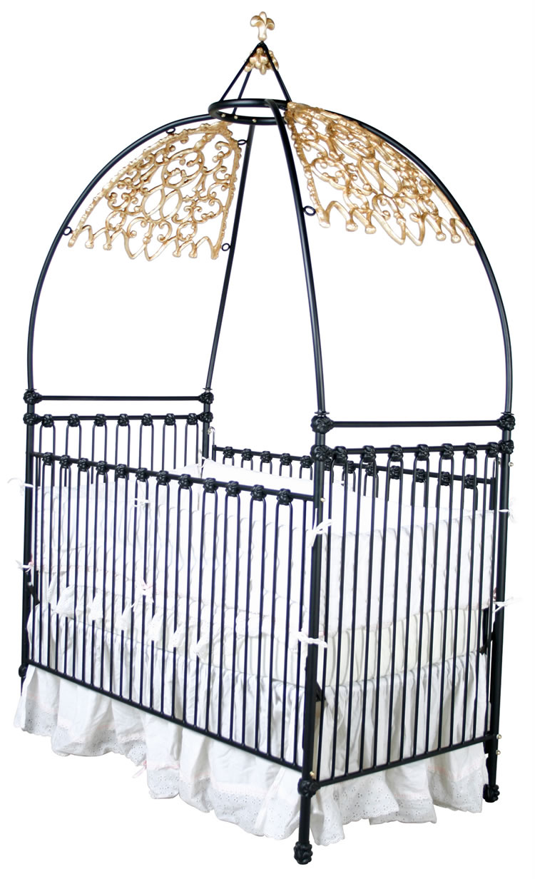 Gothic iron canopy crib for Canopy above crib