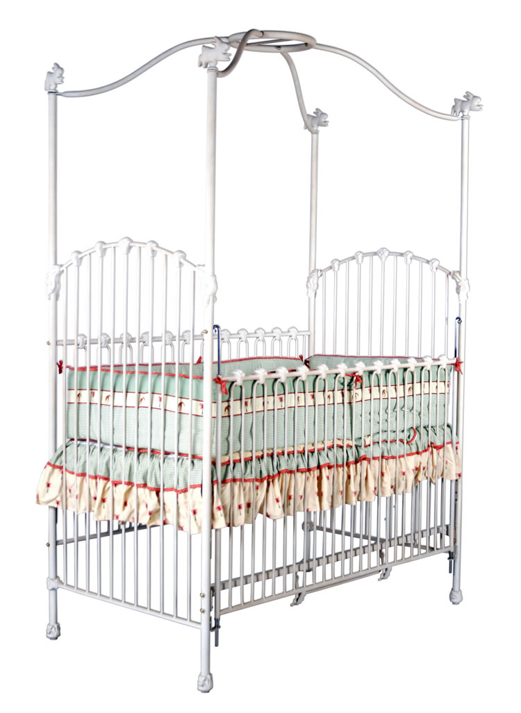 Panel canopy crib with bunnies for Canopy over crib
