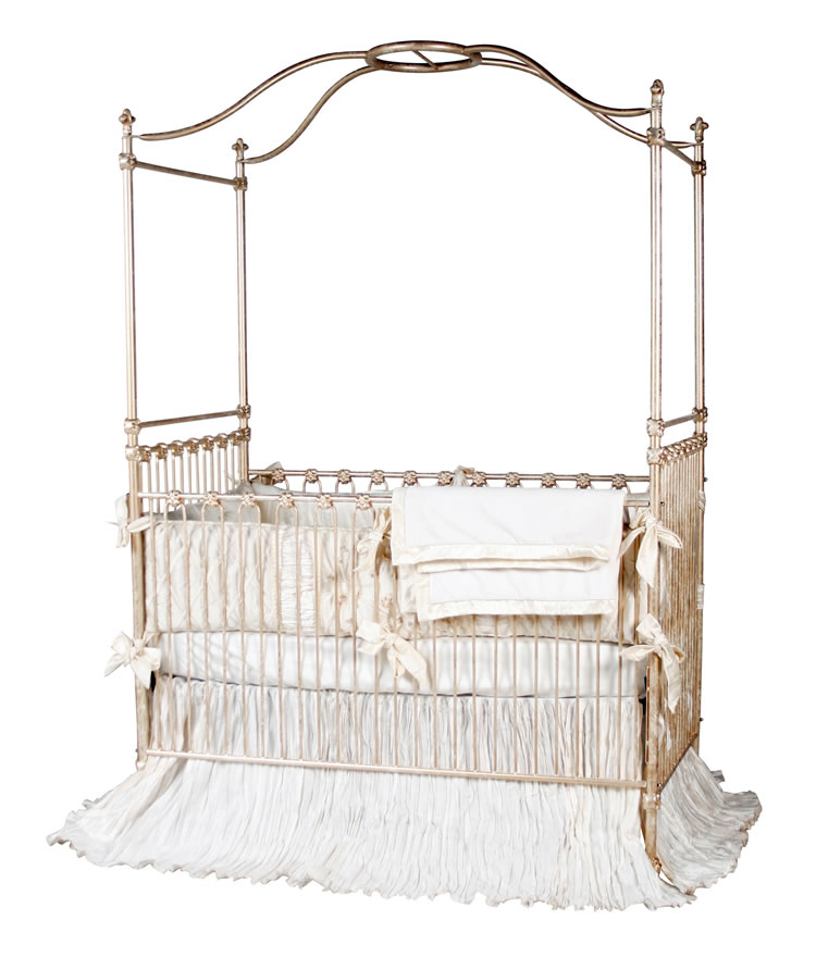 Canopy crib in gold for White canopy crib