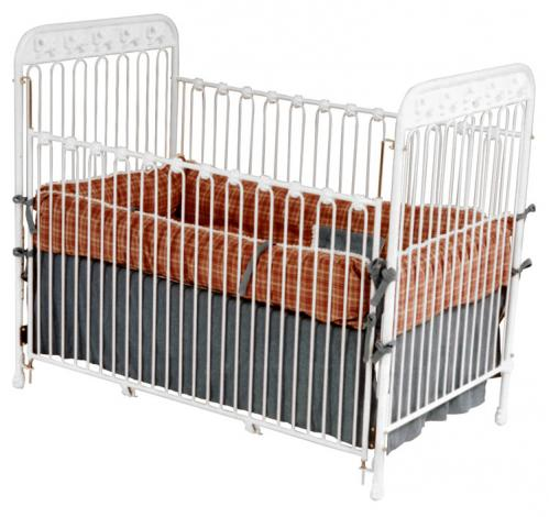 White Iron Crib with Bow Accents