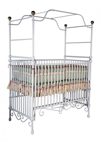 Iron Canopy Crib with Ball Finials