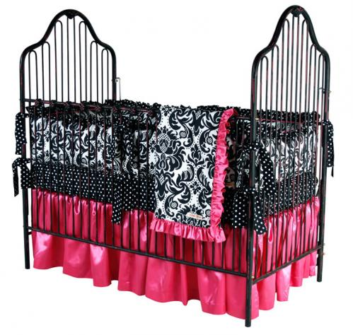 Black Iron Crib with Pink Highlights