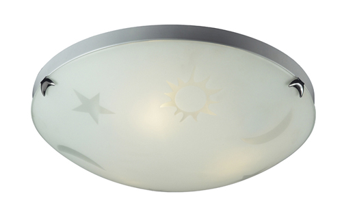 Moon stars ceiling light fixture in white aloadofball