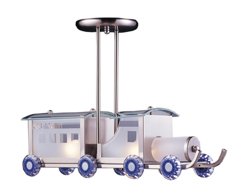 Choo Choo Train Pendant Light in Satin Nickel