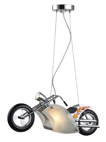 Motorcycle Pendant Light in Satin Nickel