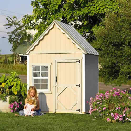 The Sugar and Spice 4' x 4' Wooden Playhouse Thumbnail 3