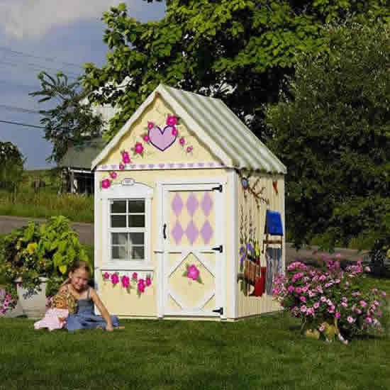 The Sugar and Spice 4' x 4' Wooden Playhouse Thumbnail 1