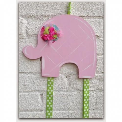 Pink Elephant Hairbow & Barrette Holder