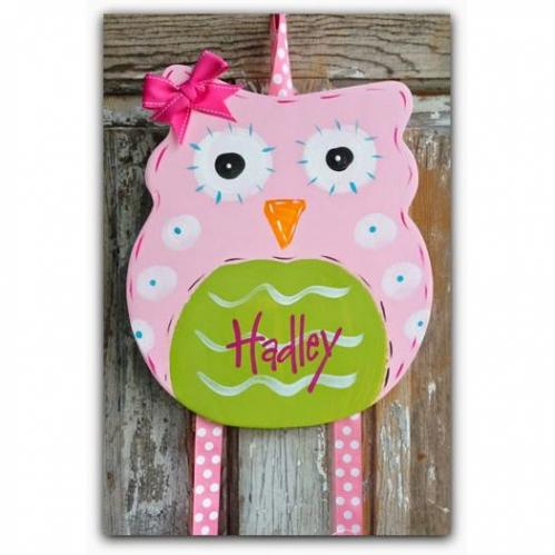 Pink Owl Hairbow & Barrette Holder
