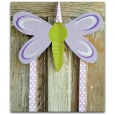 Purple Dragonfly Hair Bow & Barrette Holder