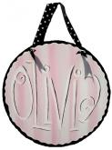 Round Canvas Name Art in Pink, Black & White, Olivia