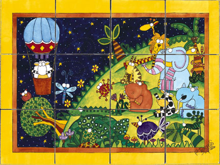 Balloon Adventure Bath Tile Wall Mural