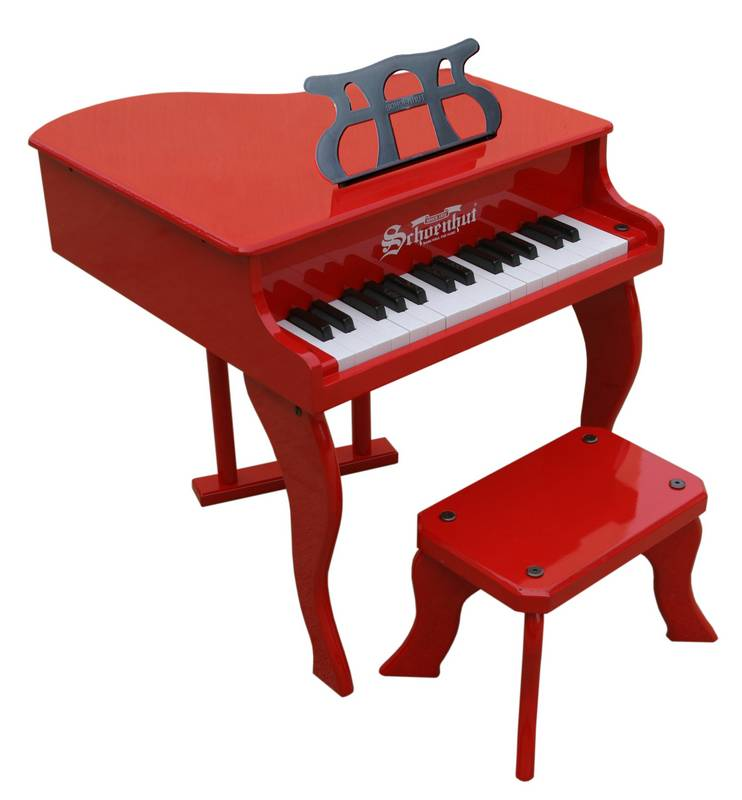 Fancy baby grand piano for kids red for Smallest piano size