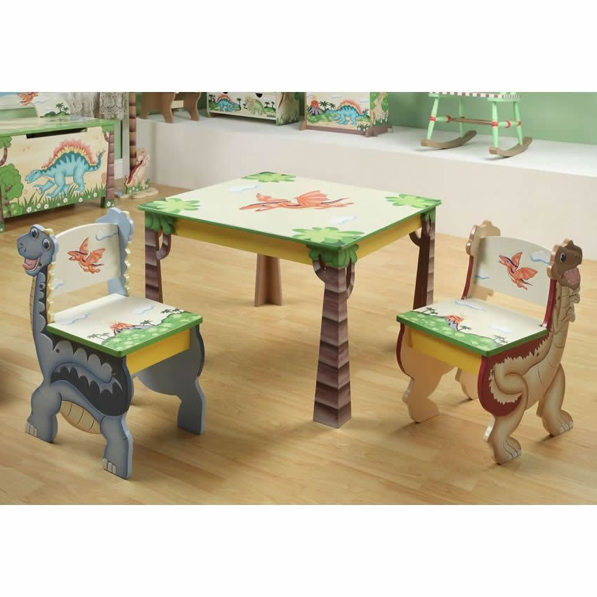 American Kids 5 Piece Wood Table And Chair Set Multiple: Dinosaur Kingdom Table & Set Of 2 Chairs