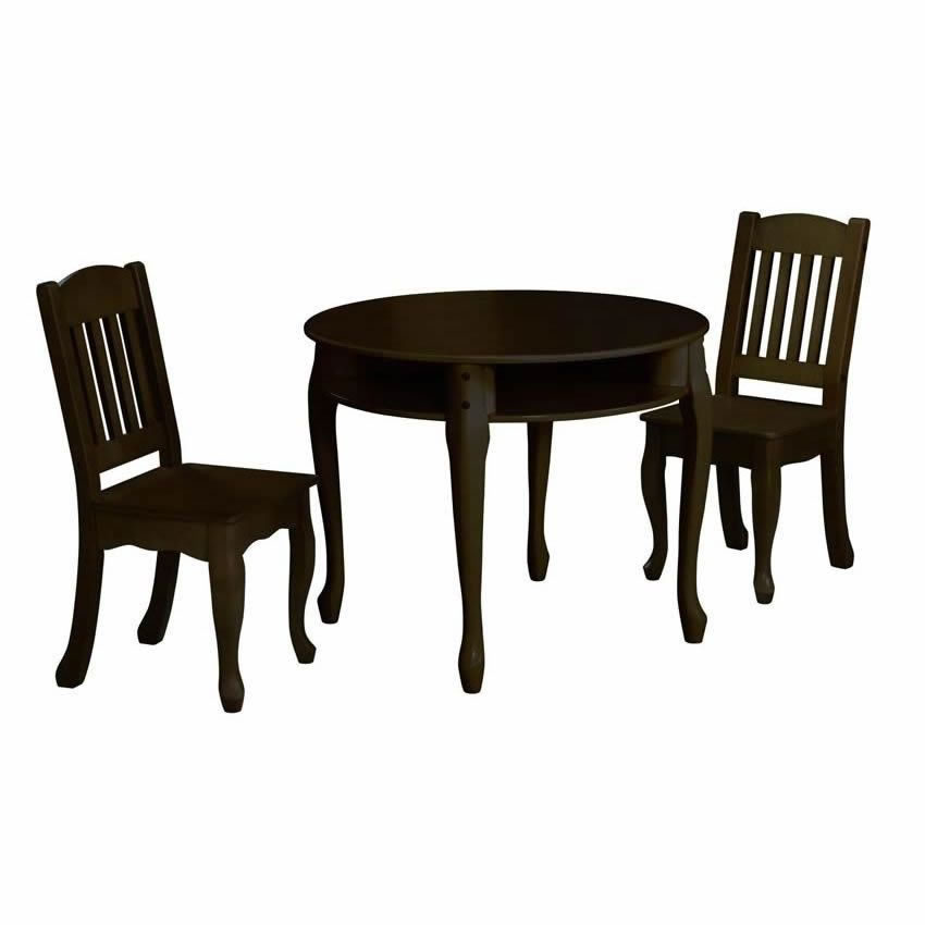 Kids Table And Chairs Set Espresso: Windsor Round Table And Chair Set- Espresso
