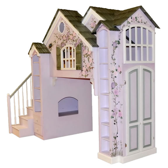 Manchester Playhouse Theme Bed w/ Built In Dresser, Pink and Green Thumbnail 2