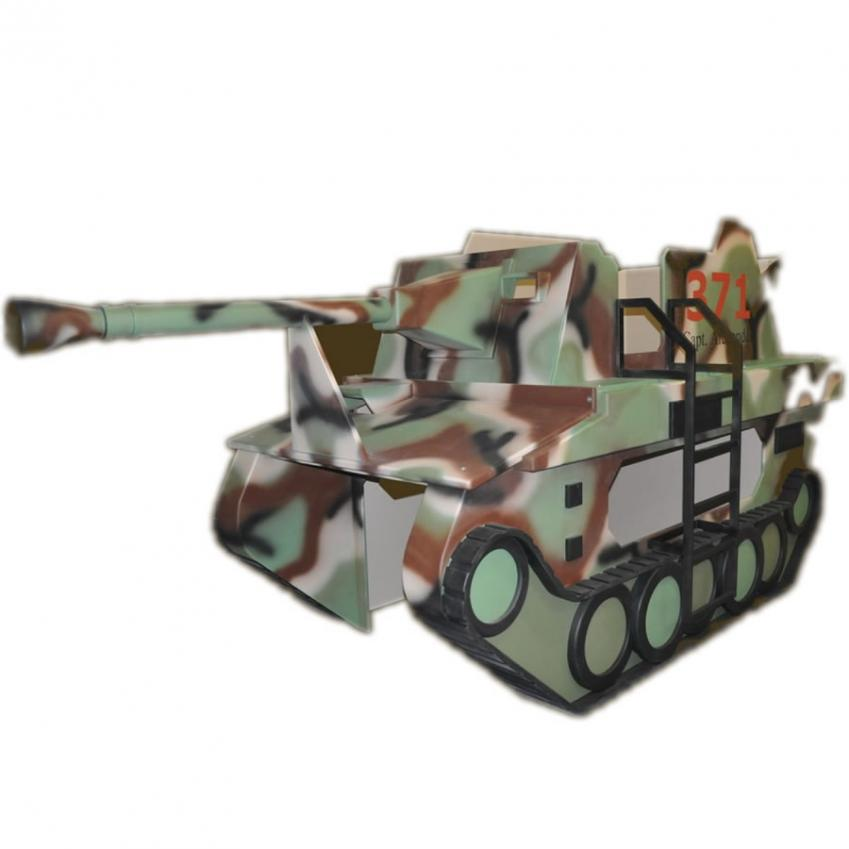 Camouflage Army Tank Bunk Bed w/ Desk