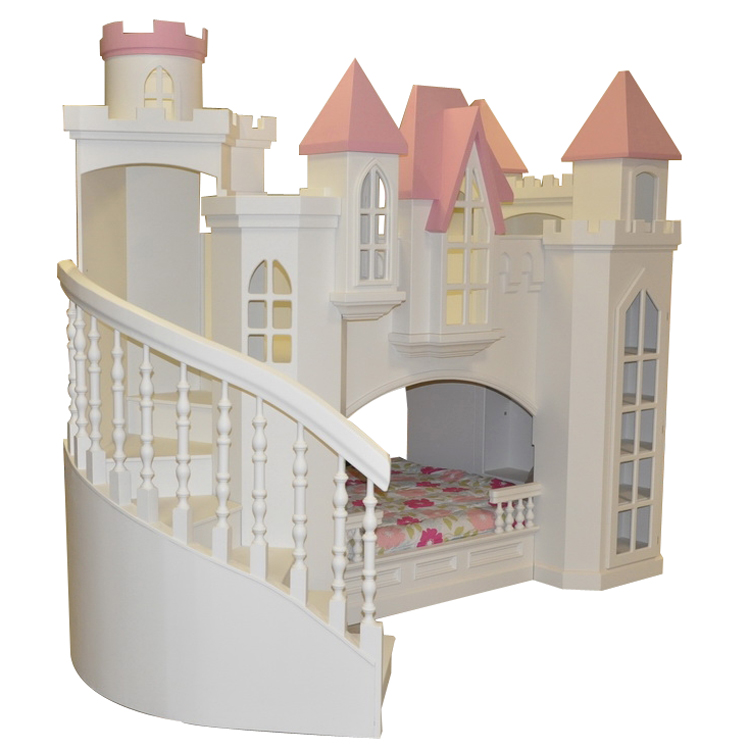 Fordell Castle Bunk Bed with Curved Staircase & Bookshelves Thumbnail ...