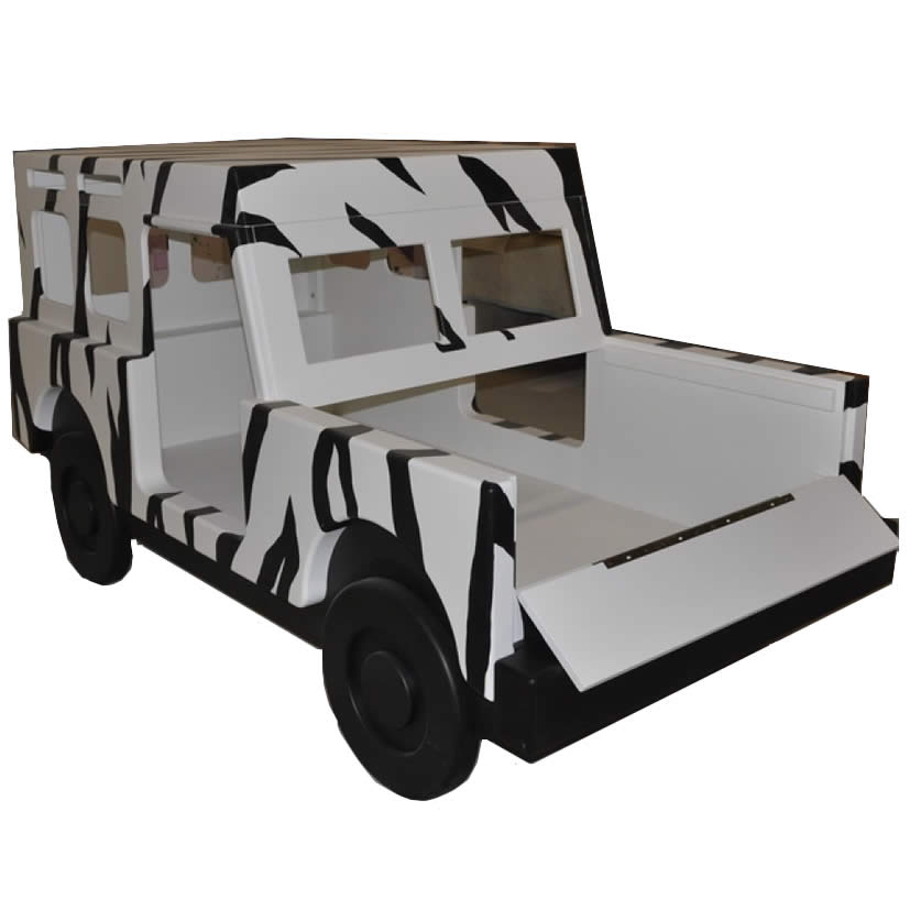 Jungle Jeep Bed with Zebra Stripes Thumbnail 1