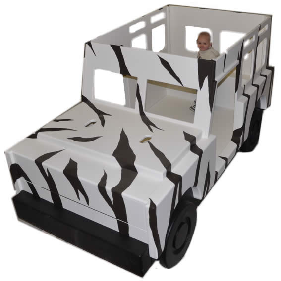 Jungle Jeep Bed with Zebra Stripes Thumbnail 2