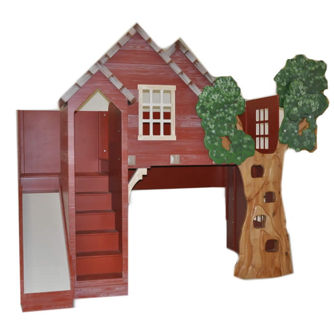 Rustic Treehouse Loft Bed With Slide