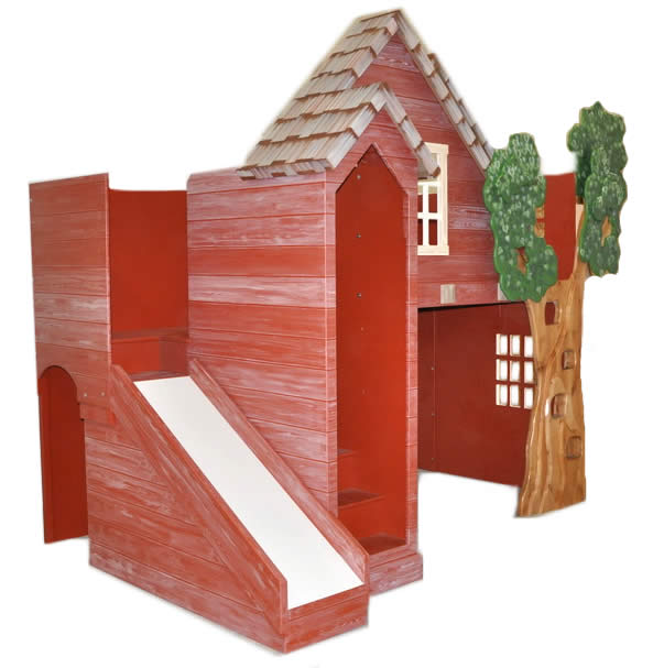 Rustic Treehouse Loft Bed with Slide Thumbnail 1