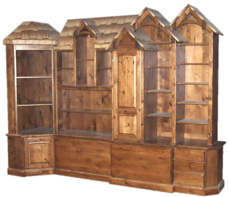 Rustic Knotty Alder Wall Unit