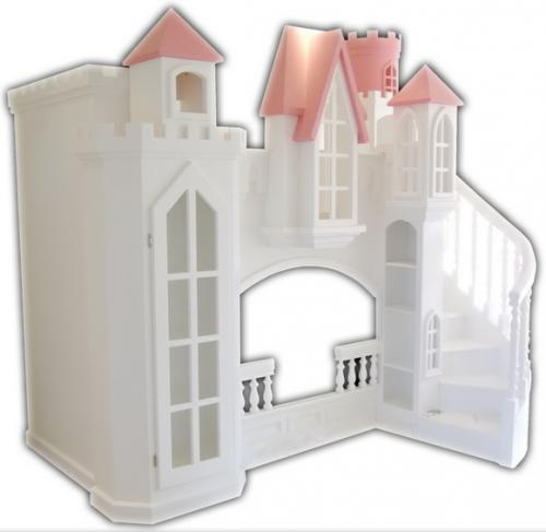 Fordell Castle Bunk Bed with Curved Staircase & Bookshelves Thumbnail