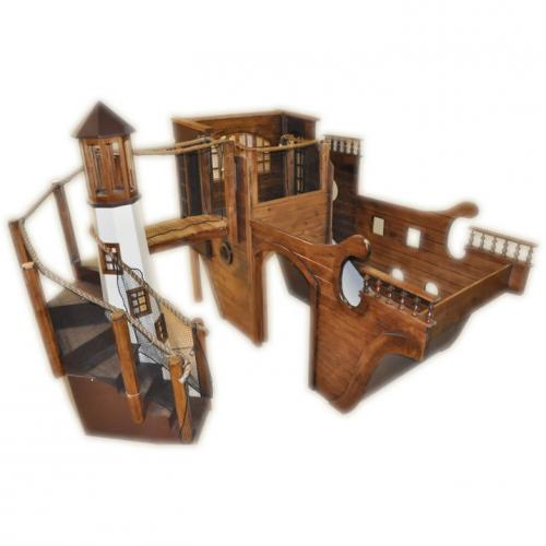 Indoor Pirate Ship Playhouse with Lighthouse & Slide