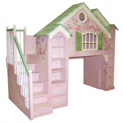 Manchester Playhouse Theme Bed w/ Built In Dresser, Pink and Green Thumbnail
