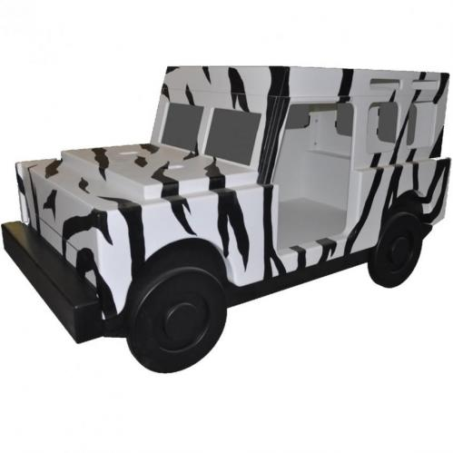 Jungle Jeep Bed with Zebra Stripes Thumbnail