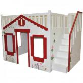 Storybook Cottage Loft Bed, Red