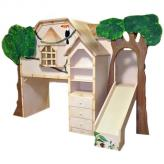 Tiki Treehouse Bed with Desk & Slide